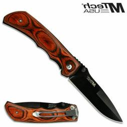 MTech USA MT-408 Folding Pocket Knife*Wood*440 Stainless Ste