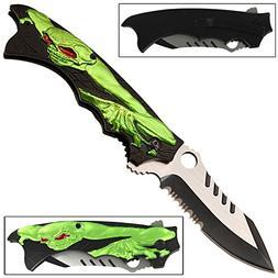 Mutant Zombie Creeper Manual Folding Pocket Knife