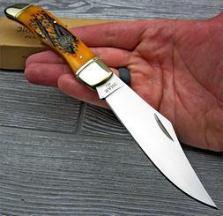 NAHC Geniune Orange Bone Handle Large Folding Hunter Pocket