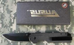 NEW Statgear Ausus Folding Knife Black D2 Steel w Linerlock