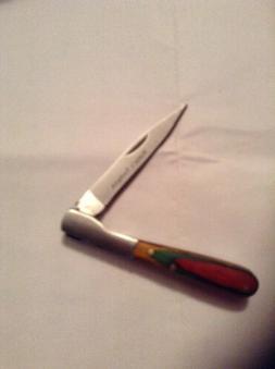 New Hunter Toothpick Pocket Knife Folding Blade Red Wood Han