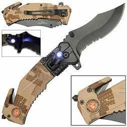 NEW LED Flashlight Tactical Rescue Pocket Knife US Marines F