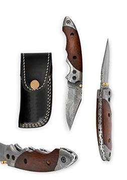 Outstanding Value - Custom Handmade Damascus Folding Knife -
