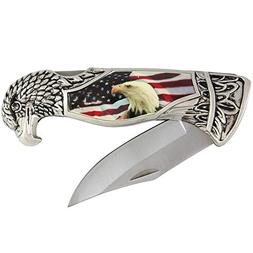 Patriotic Eagle Head And USA Flag Folding Knife With Present