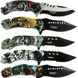 Tactical Print Handle Spring Pocket Knife Folding Tactical O