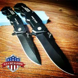 Quick Open Knives Black Folding Pocket Knife Tactical Surviv