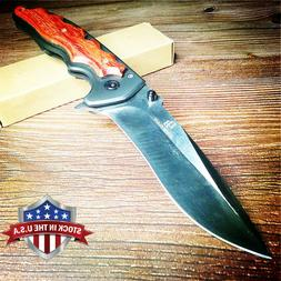 Quick Open Knives Portable Tactical Folding Knife Wood Handl