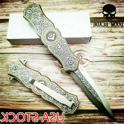 Quick Open Knives Tactical Folding Knife Steel Handle Pocket