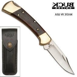 Buck pocket knife 112 Ranger Ebony wood Handle with leather
