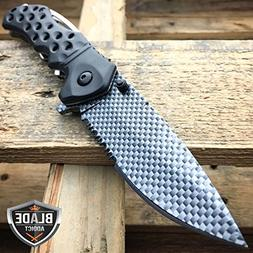 "8"" Razor Carbon Fiber Combat Tactical Spring Assisted Open F"