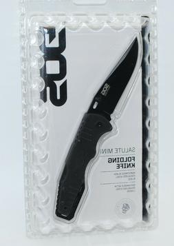 SOG Salute Mini Folding Knife, Black Stainless Steel Blade,