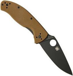 "Spyderco SC122GPBBN Tenacious 4.375"" Folding Knife w/Brown G"