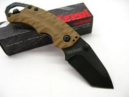 Kershaw Shuffle II 8Cr13MoV Blackwash Tanto Tan Handle Knife