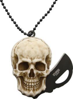 MTech Skull Head Folder Black Folding Neck Knife SKULL
