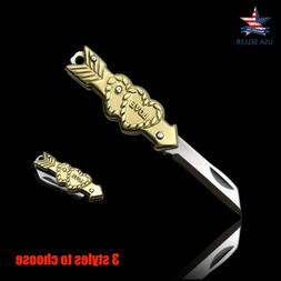 Small Mini Knife Stainless Steel Folding Pocket Brass Keycha