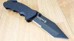 Smith & Wesson Border Guard II Black G10 Serrated Large Fold