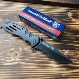 Smith & Wesson Extreme Ops Black Handle Combo Edge Folding P