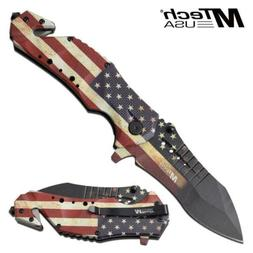 "Spring-Assist Folding Knife Mtech 3.75"" Blade American Flag"