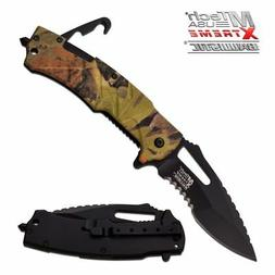 SPRING ASSIST FOLDING KNIFE Mtech Tactical Rescue Hook Camo