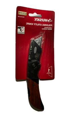 Husky Standard Folding Utility Knife Wood Handle Folding Loc