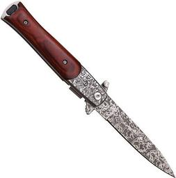 Stiletto Linerlock Assisted Open 3 7/8 Faux Damascus Acid St