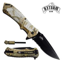 Survival Folding Knife Camo Fire Starter Spring Assisted