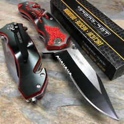 Tac Force Assisted Open Red Scorpion Fantasy Black Blade Poc