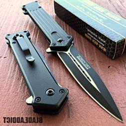 Tac-Force Black Dagger Blade Style Spring Open Assisted Fold