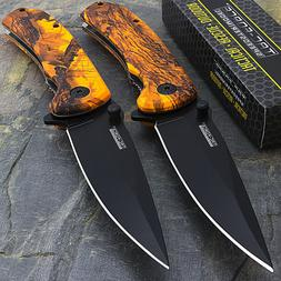 """2 x 8"""" TAC FORCE EDC ORANGE CAMO SPRING ASSISTED TACTICAL PO"""