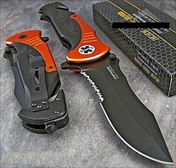"""Tac-force Extra Large 10.5"""" Orange Emt Folder Blade Tactical"""