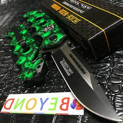 Tac-Force GREEN Skull Rescue Spring Assisted Glass Breaker F