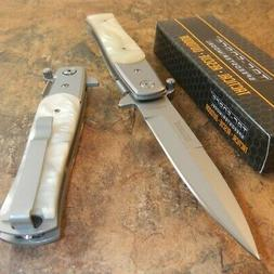 Tac-Force TF-428S Mother Of Pearl Straight Assisted Folding