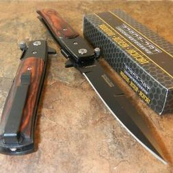 Tac-Force TF-428WB Dark Brown Wood Straight Assisted Folding