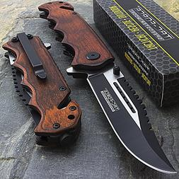 "8"" TAC FORCE WOOD 2-TONE SPRING ASSISTED FOLDING POCKET KNIF"