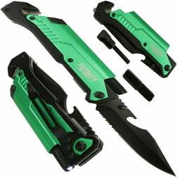 "Defender-Xtreme 8.5"" Multi Function Folding Knife Olive Gree"