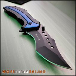TACTICAL Spring Open Pocket Knife CLEAVER RAZOR FOLDING Assi