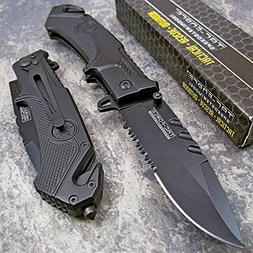 TAC-FORCE BLACK TACTICAL Spring Assisted Opening Folding RES