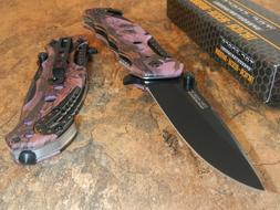 TAF-FORCE Pink Camo Aluminum Folding Tactical Survival Pocke