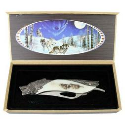 "TheBoneEdge 8"" Wolf Pattern Handle Folding Knife With Gift B"