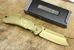 Wartech Thumb Open Spring Assisted Cleaver Gold Skull Pocket