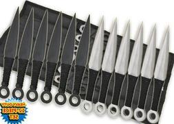 Tk-868-12-bs 12 Pc Anime Throwing Knife Set W/case- Black/si