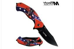MTech USA Spring Assisted Confederate Skull Folding Knife w/