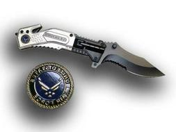 Wartech USAF Silver Air Force Spring Assisted Tactical Foldi