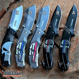 "Wartech 8.25"" CLEAVER PUNISHER SKULL FOLDING KNIFE Spring As"