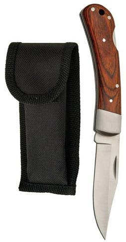 Woodgrain 210725 Handle Straight Lockback Folder Folding Poc