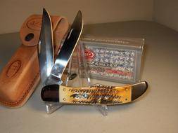 CASE XX KNIFE- FOLDING HUNTER BURNT BONESTAG  #3574 - WITH S