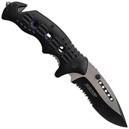 Wartech YC-S-7011-BK Tanto Spring Assisted Rescue Pocket Kni