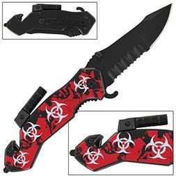 Zombie Fatality Bio-Hazard Flashlight Folding Pocket Knife